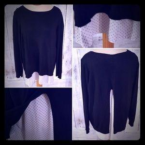 Faded Glory Black Sweater Blouse w/ Peekaboo Back